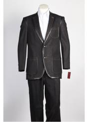 JSM-357 Mens 2 Button Black Suit