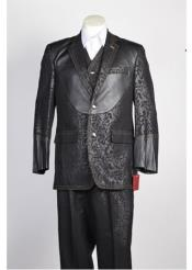 JSM-365 Mens 2 Button Single Breasted Black Suit
