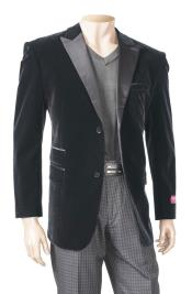 SM5197 Black Mens Big And Tall Blazers Velvet ~