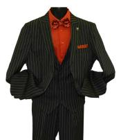 SD215 Mens Black Peak Lapel Striped Two Button Single
