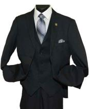 SD234 Mens 2 Button Side Vent Peak Lapel Black