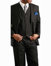 JSM-2585 Mens 2 Button Banker Pinstripe ~ Stripe Notch