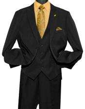 GD815 Falcone Men's Fashion 2 Button Black Single Breasted