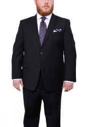 SM4908 Mens Two Button Portly Fit Black Tonal Herringbone
