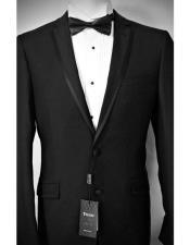 SD326 Mens Black Slim Fit Tiglio Luxe Italian Notch