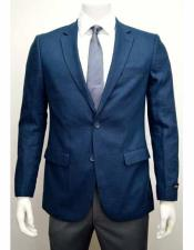 SD299 Mens Linen 2 Button Blue Notch Lapel Single