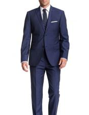 JSM-6101 Mens Blue Check 2 Button Modern Fit Notch