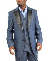 Product# AC-170 Fashion Two Button Cotton Timmed Denim Suit