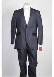 JSM-117 Mens 2 Button Blue Denim Jean Fashion Suit