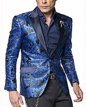 JSM-2874 Mens 2 Button Blue Paisley Pattern Satin Peak