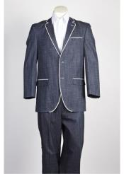 JSM-221 2 Button Blue Single Breasted Suit Denim Jean