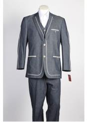 JSM-353 Mens 2 Button 2 Piece Blue Suit