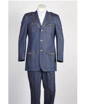 JSM-467 Mens Two Piece 3 Button Blue Safari Military