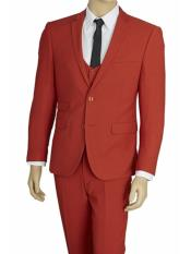 US631V Mens Brick Red 3 Piece Stretch Fabric Extra