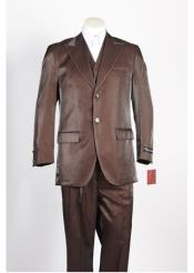 JSM-323 Mens 2 Button Single Breasted Brown Suit