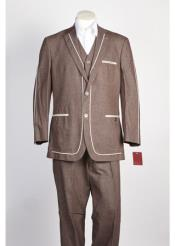 JSM-356 Mens 2 Button Brown Suit