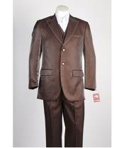 JSM-447 Mens 2 Button Brown Single Breasted Suit