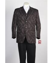 JSM-461 Mens Brown 2 Button Single Breasted Suit