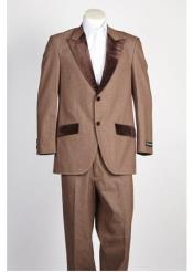 JSM-219 Mens 2 Button Brown Single Breasted Velvet Suit