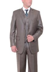 JSM-431 Mens 2 Button Taupe Brown Textured Classic Fit