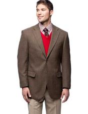 JSM-341 Mens 2 Button Brown Single Breasted Blazer Wool