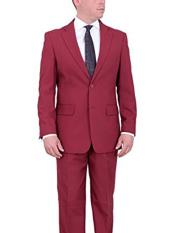 SD269 Mens Burgundy Classic Fit Two Button Notch Lapel