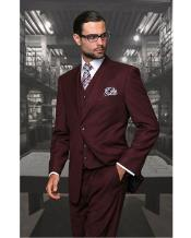 JSM-1319 Mens Statement 2 Button Burgundy Wine Modern Fit