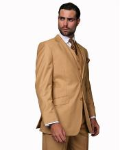 JSM-1356 Mens Camel 2 Button 3 Piece 100% Wool