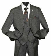 SD233 Mens Charcoal Peak Lapel 2 Button Side Vent