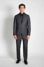 JSM-1485 Mens 2 Button Slim Fit Charcoal Pinstripe Suit