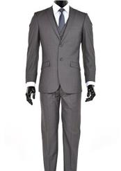 JSM-4995 Mens Charcoal 2 Button Notch Lapel Slim Fit