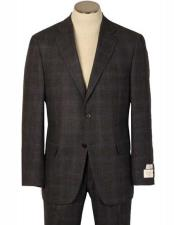 JSM-2063 Mens 2 Button Windowpane Charcoal Made In America/Usa