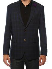 JA165 Ferrecci Mens Plaid Slim Fit Purple Blazer Dinner