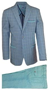 JA195 Mens Notch Lapel Gray Mens 2 Piece Linen