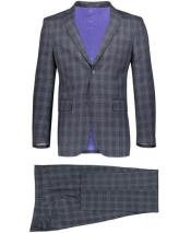 GD1797 Mens Slim Fit 2 Button Gray Suit Window