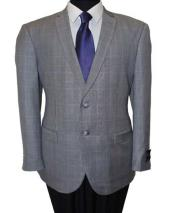 SD148 Mens Wool 2 Button Windowpane Grey Notch Lapel