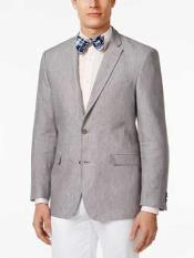 JSM-318 Mens Grey 2 Button Classic Fit Linen Sport