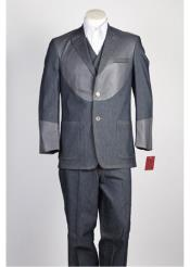 JSM-337 Mens 2 Button Grey Single Breasted Suit