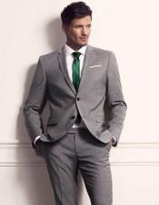 CH1762 Mens grey Suit for Men green tie package