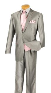 Mens 2 Button Grey/Pink Tuxedo