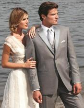 6F54 Stunning Grey ~ Gray Two Button Grey Tuxedo