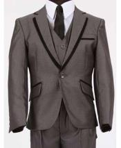 JSM-612 Mens Two Toned Trimmed Notch Lapel Vested Dark