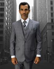 Mens Statement Plaid 2 Button Grey Double Breasted Vest