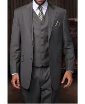 JSM-1256 Statement 2 Button 3 Piece Charcoal Grey Vested