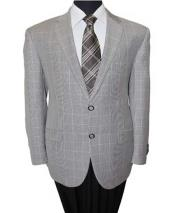 SD142 Mens 2 Button Wool Notch Grey Lapel Windowpane