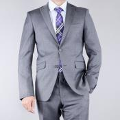 LP2U Mantoni patterned Grey 2-Button Slim-Fit Wool Fabric Suit