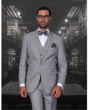 JSM-1325 Mens 2 Button Statement Solid Grey Modern Fit