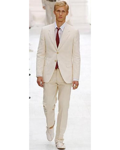 S81201 Highest Quality Two Button Style Ivory/Cream Suit (