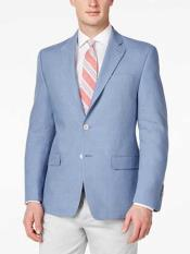 JSM-310 Mens Solid Light Blue 2 Button Linen Sport