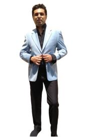 5U3D Two Button Blazer Online Sale Light Blue ~